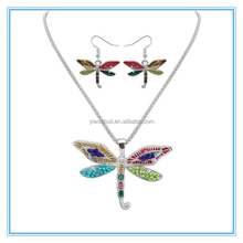 2016 New bright color Enamel Animal Jewelry Sets Bead Dragonfly Necklace