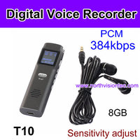 High sensitivity digital Voice Recorder with 8GB storage and PCM 384Kbps