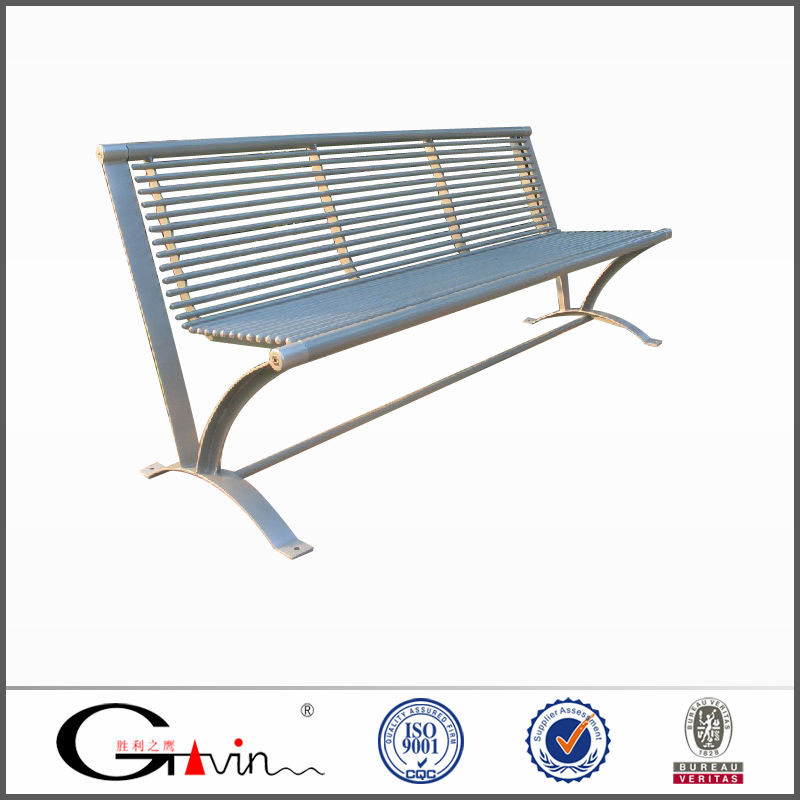 Hot sale tubular metal park benches with steel frame outdoor furniture china