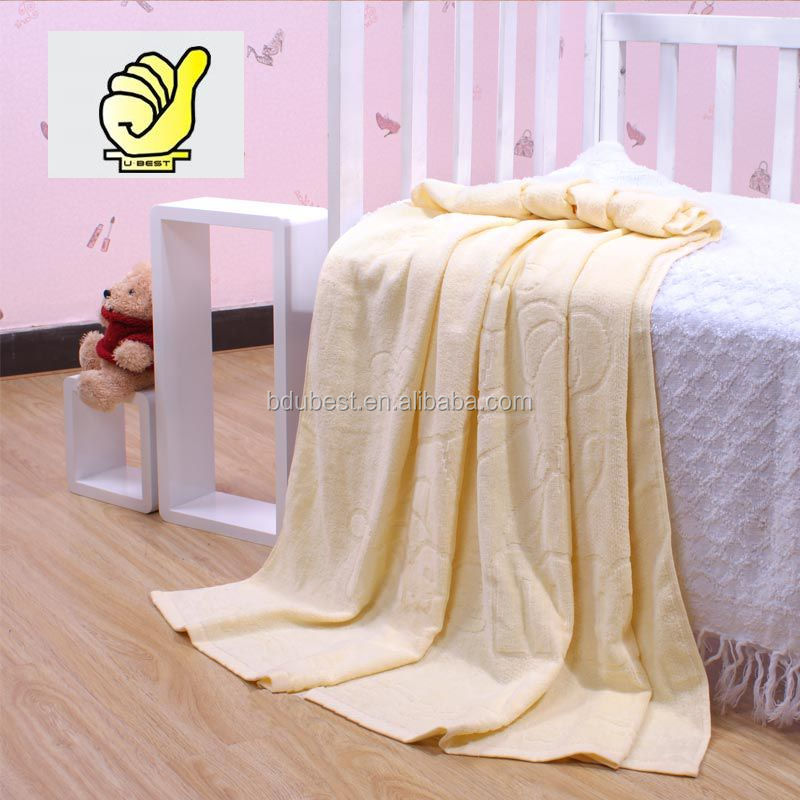 New 2014 Baby Products100% cotton Baby Kids Blanket Swaddle Bath towel with lovely bear, Jacquard and velour terry--Orange color