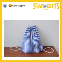 Alibaba China striped cotton drawstring bag