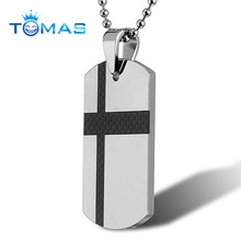 stainless steel men's cross pendant dog tag necklace