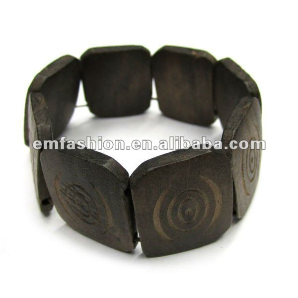 Brown square wooden beads elastic bracelet
