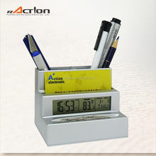 Digital Clock with Pen Holder Name Card Holder Time Alarm Snooze Calender Storage Count Down Timer