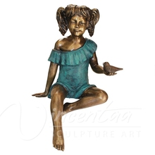 Outdoor garden decoration life size bronze metal crafts small bird and children statues for sale