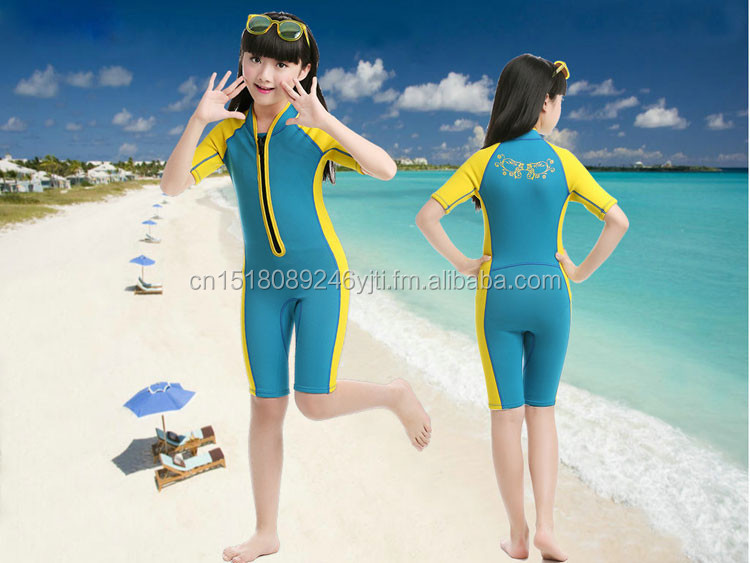 cute 2mm shorty kids wetsuit swimsuit one piece front zipper yellow green pink  (4).jpg