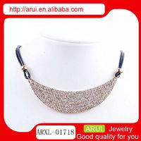 Alibaba full pave diamond moon shape gold choker leather necklace