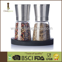 stainless steel cap ceramic grinder glass jar 2 in 1 salt and pepper mill set