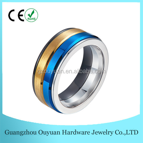 Shiny Polished Tungsten Carbide Blanks Fashion Jewelry Stainless Steel Mens Rings 8MM Blue Tungsten Ceramic Ring