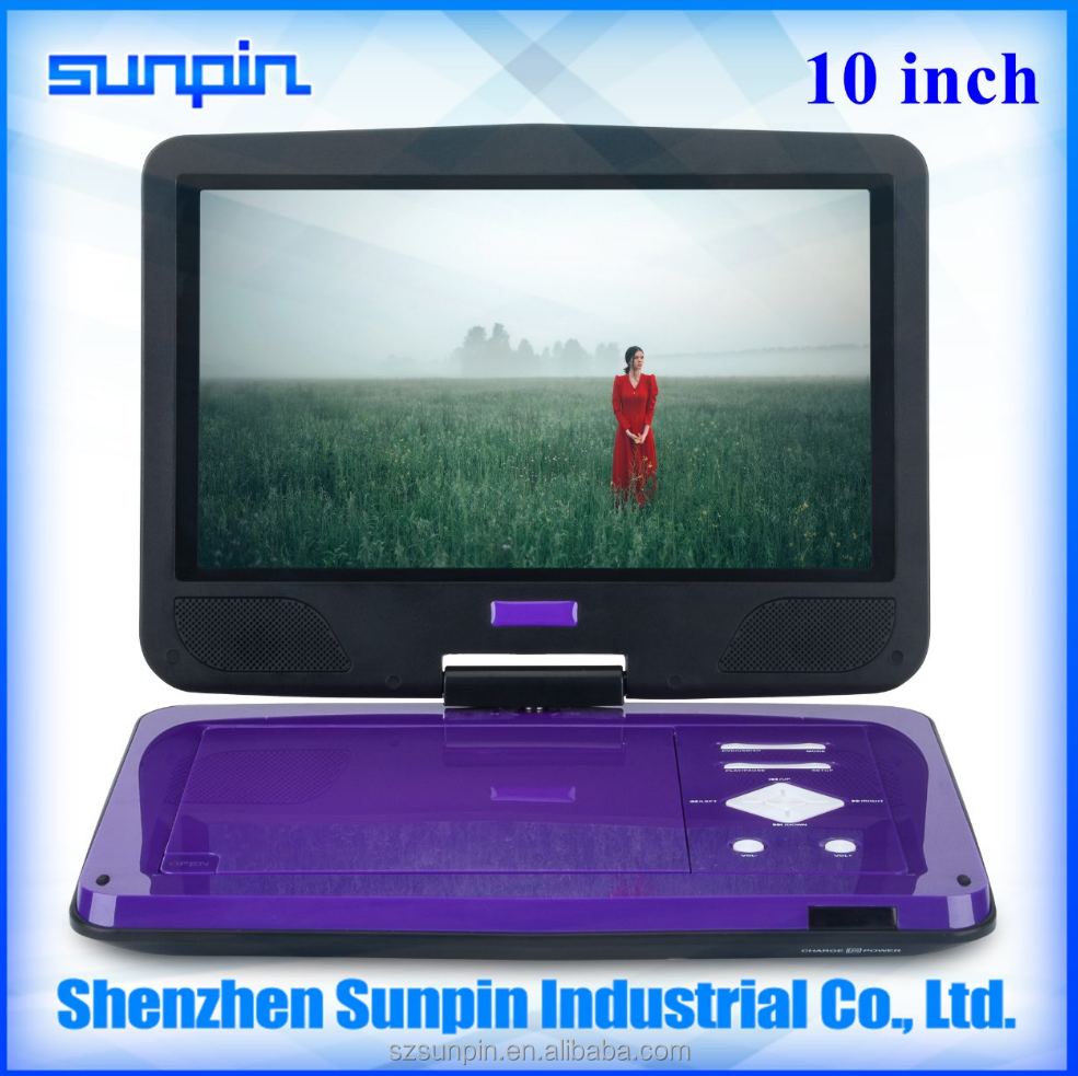 Portable Use 10 inch ultra slim portable DVD player with different colors