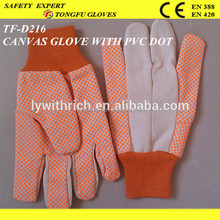 fashion garden gloves for woman/ canvas gloves with orange/ black pvc dotted