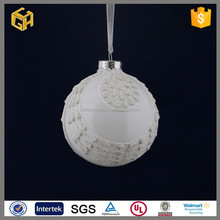 Wholesale white round hollow glass ball stick lace for christmas ornaments