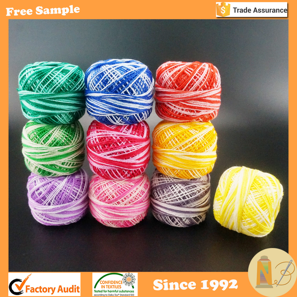 Variegated Colors Crochet Cotton Cross Stitch Thread Ball