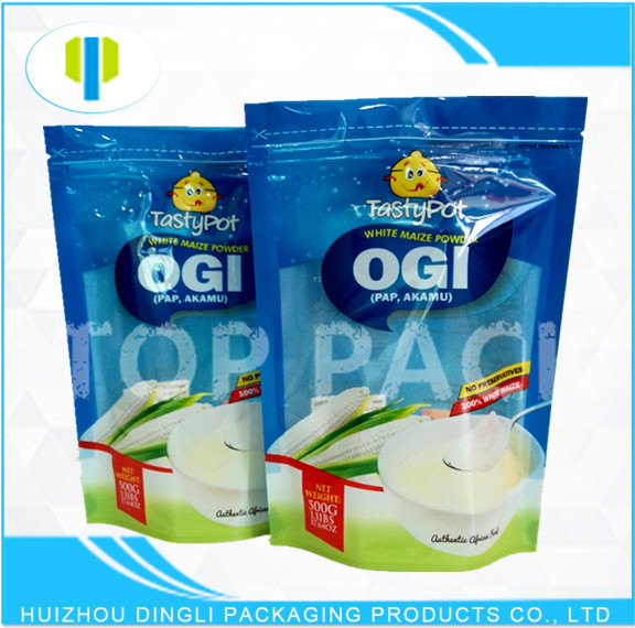 Laminated food grade plastic zipper oatmeal packaging bag with window
