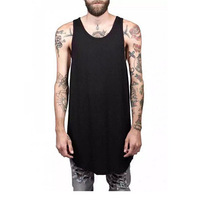 Oem Factory High Quality 100% Cotton Custom Black Men's vest