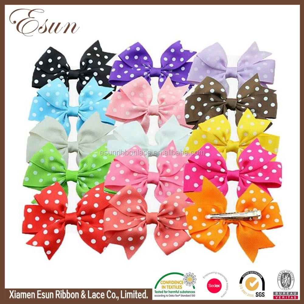 Polka dots ribbon bow wholesale 2017 hair accessories for baby girls teens