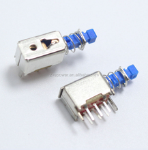 A04 6pin TV Power Switch With Spring Self-locking Blue DC 12V 50MA Unidirection Push-button Switch