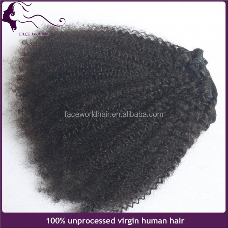 facyory direct afro kinky curly raw virgin clip in indian human hair extensions
