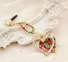 Hot selling cute 3D rhinestone heart mobile phone anti dust plug
