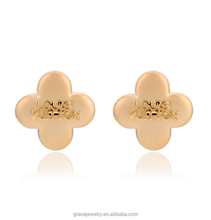 gold plated lady style exquisite famous brand name clover earrings