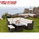 All-weather resin wicker 5 PCS dinning table set with cheap corner sofa