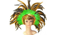 Customized Wholesale Halloween Carnival Party Supplies Showgirl Belly Dance Headpiece Indian Feather Headdress