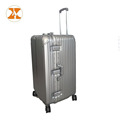 Silvery Rose Gold Black ABS PC Large Space Aluminium Frame Trolley Luggage