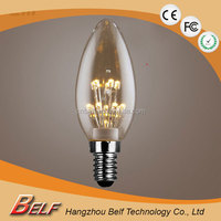 High Quality c35 vintage led bulb for home decoration e14 e27 base cri 70 clear glass 2200 - 2400k 35*95mm
