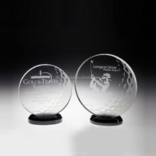 Unique design cheap crystal glass golf trophy award plaque gifts wholesale