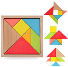 Promotion XMAS gift 7pcs colorful Intelligence Game IQ Puzzle Jigsaw wooden toy Tangram