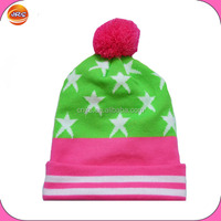 fashion jacquard star reflective beanie hat with top ball