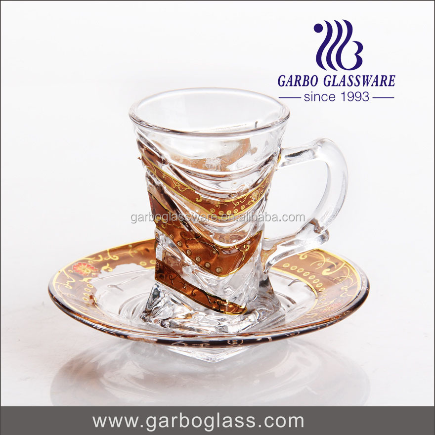 75ml turkish glass tea cups and saucer with printing logo,drinking glassware set