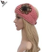 High Quality Wool Cheap Knit Headband With Flower For Girls