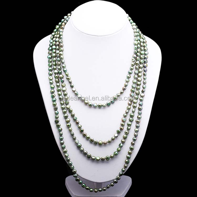 Potato Shape 7-8mm Green Freshwater Cultured Pearls Necklace <strong>100</strong> inches