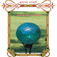 Outdoor Patio Garden Blue Glass Mosaic Gazing Ball Globe