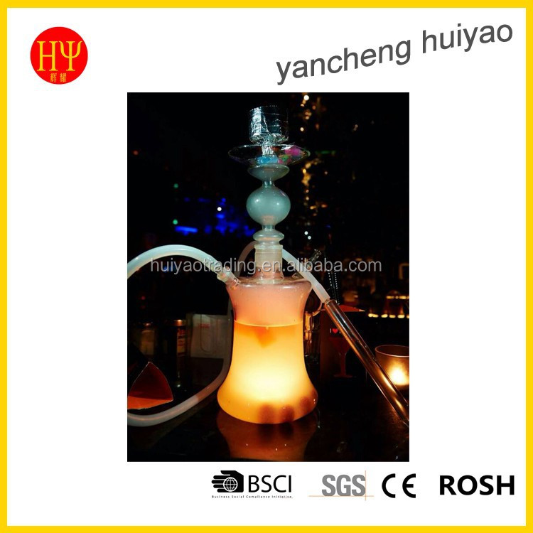hot sale modern led glass hookah shisha with silicone hose