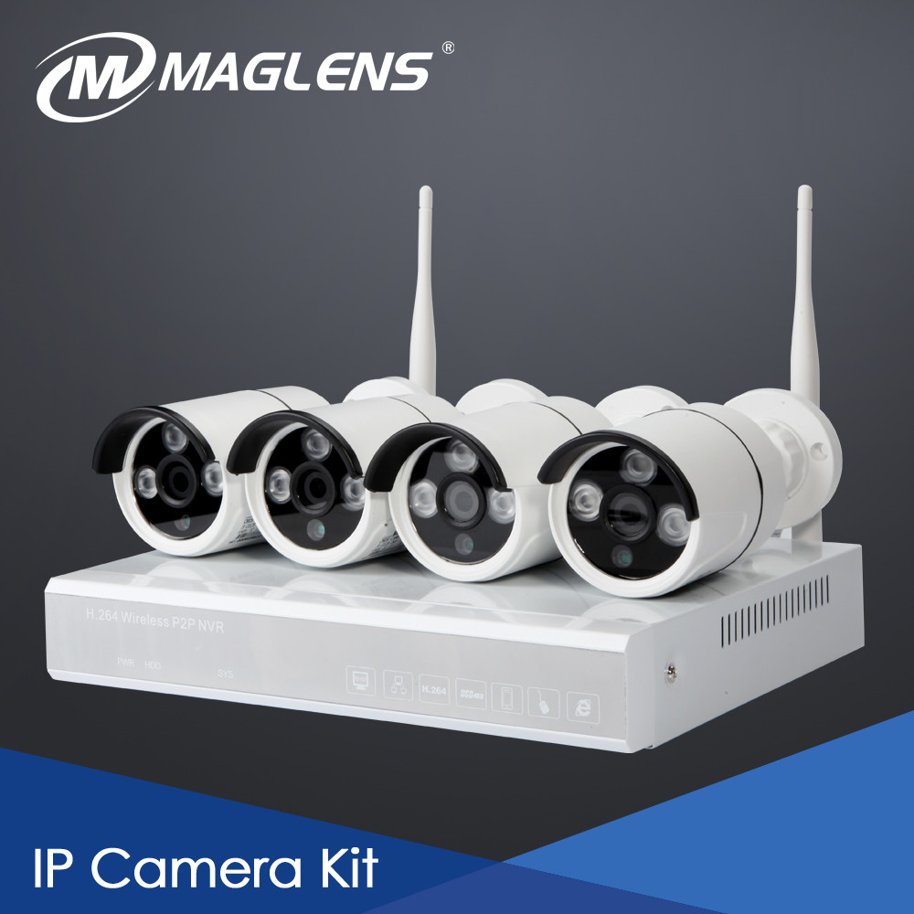 HD IP Camera 4CH NVR kit Outdoor,CCTV outdoor wireless, Host 64 Zones Wireless Sensors