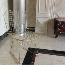 Morden design gold electroplate metal wire chair stool geometric metal accent chair