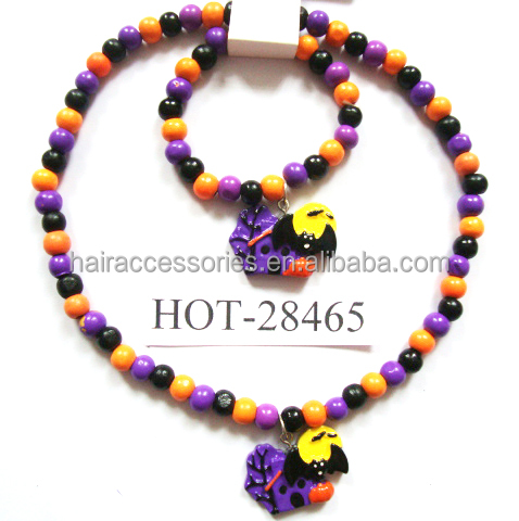 Halloween jewelry set for kids evil necklace and bracelet