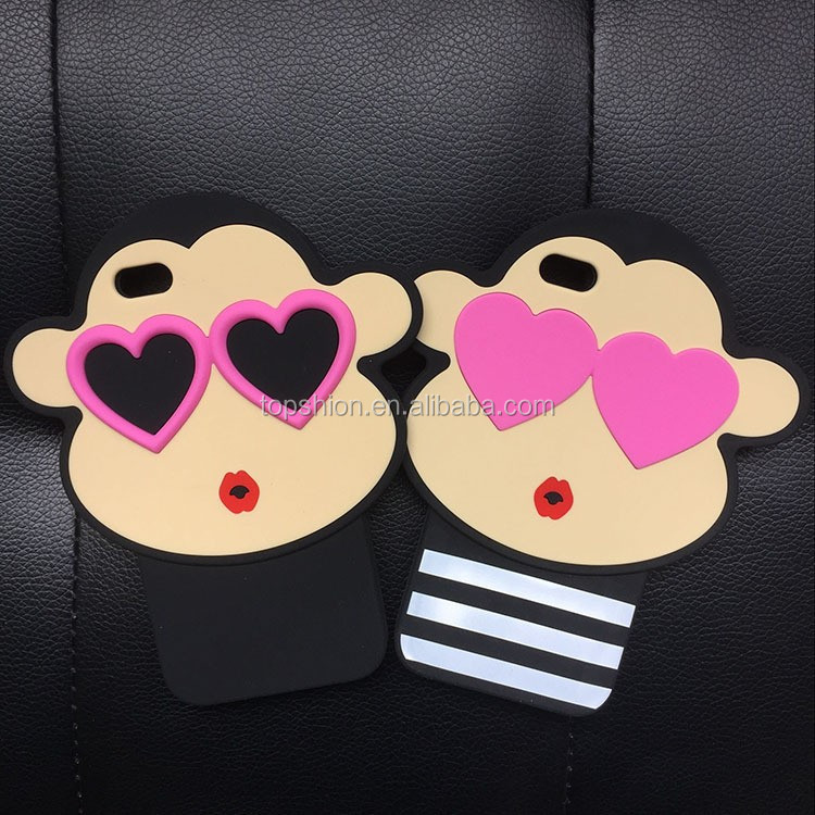 Korea Style Fashion Lovely Heart Monkey Mobile Phone Cover Case for iphone 6\6s