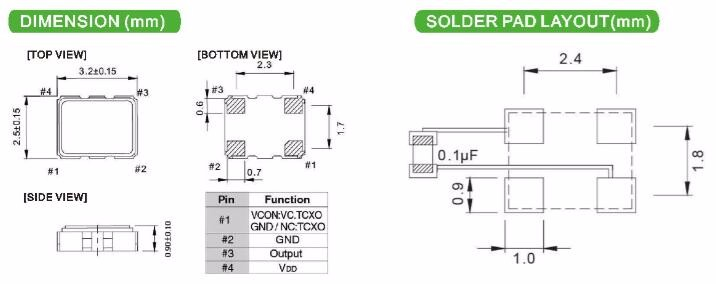 TCXO 3.2*2.5/4/SMD 0.5PPM 28.8MHz Temperature Compensated TCXO Oscillator Active Electronic Components
