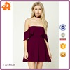 High Fashion Sexy Lady Girl Dress Party Off-the-Shoulder Flounce Cocktail Dresses