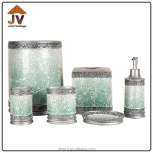 Hand Painting Crack Mosaic finish Chinese glass bathroom accessories set