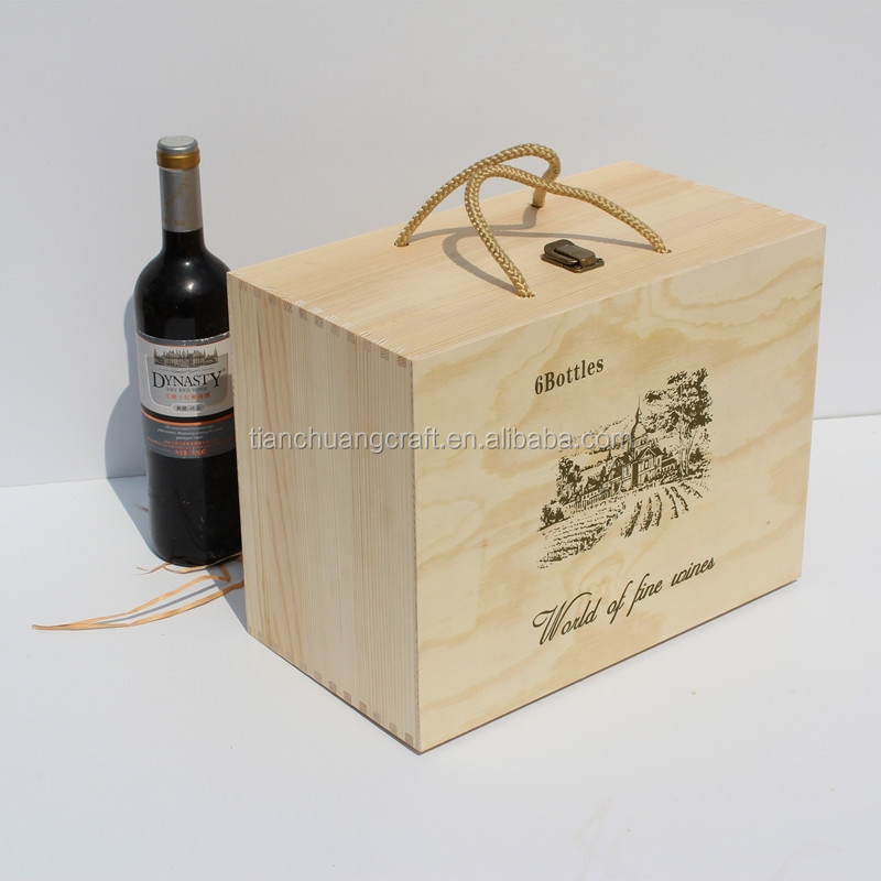 Empty wine bottle gift wooden boxes for 6 bottles for Empty wine crates