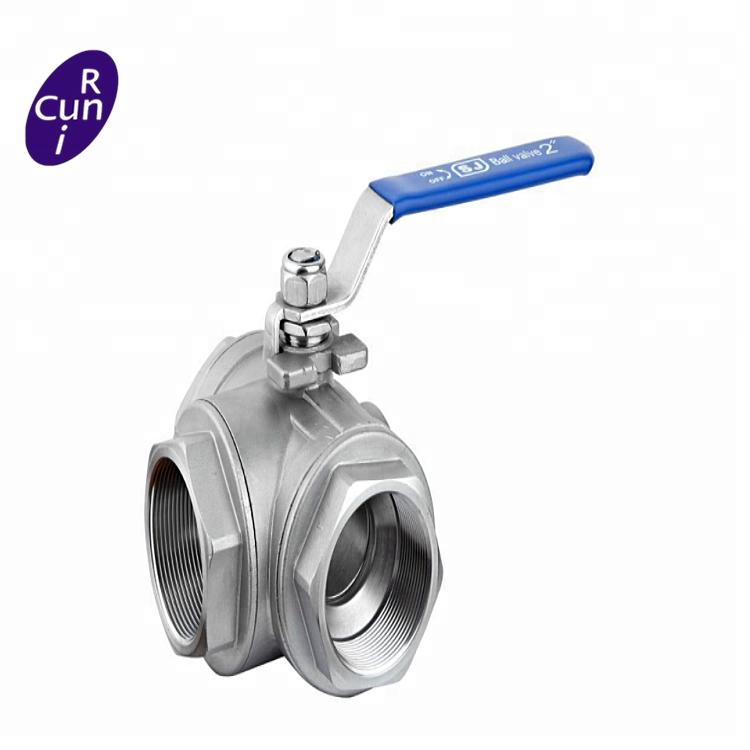 Factory Supply 1.5 inch stainless steel 3 way <strong>ball</strong> <strong>valve</strong>