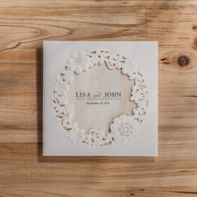 paper craft handmade white wedding invitations card with laser cutting cw5175