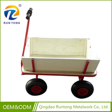 Four Omni-Directional Pneumatized Wheel Metal Wooden Tool Trolley Garden Carts