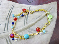 Gold Chain Anklet 'Magical Colorful' Handmade in Thailand Fair Trade Jewelry