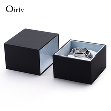 Oirlv China Custom Black Leatherette Paper Jewellery Gift Boxes with Suede Pillow For Bracelet Bangle Drawer Watch Packaging Box