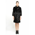 QD70776 Lady Winter Long Genuine Natural Chinese Mink Coat with 3/4 Sleeves